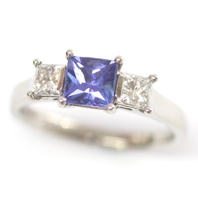 18ct White Gold Princess Cut Sapphire and Diamond Engagement Ring 2.jpg