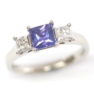 18ct White Gold Princess Cut Sapphire and Diamond Engagement Ring 1.jpg