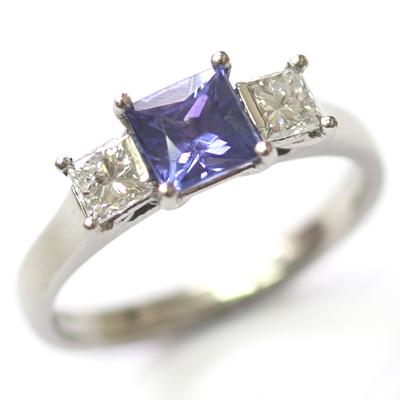 18ct White Gold Princess Cut Sapphire and Diamond Engagement Ring 3.jpg