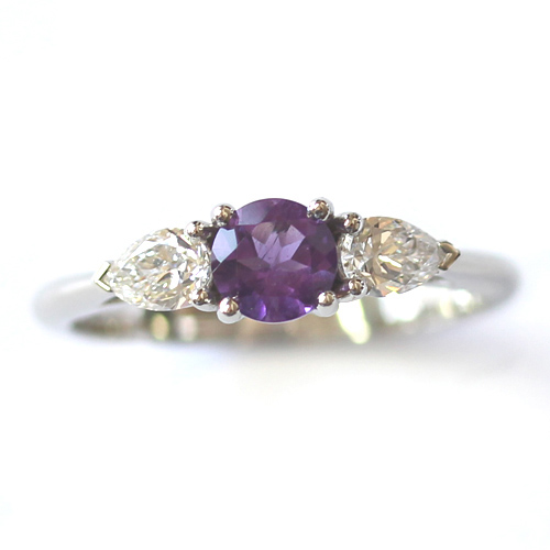 Platinum Amethyst and Diamond Trilogy Engagement Ring.jpg