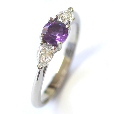 Platinum Amethyst and Diamond Trilogy Engagement Ring 3.jpg