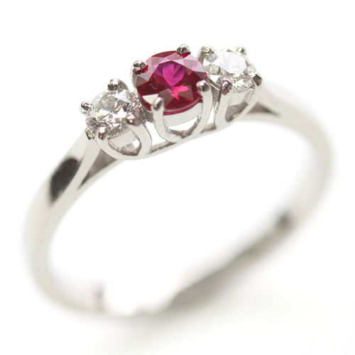 Palladium Ruby and Diamond Trilogy Engagement Ring (sustainably sourced diamond).jpg