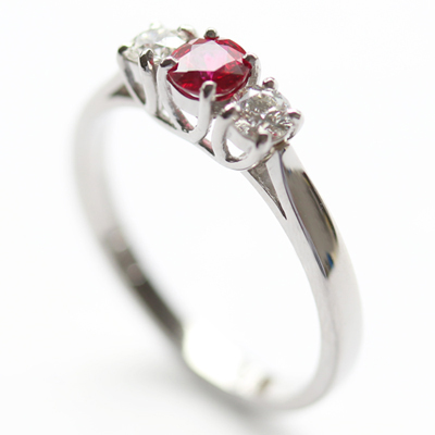 Palladium Ruby and Diamond Trilogy Engagement Ring (sustainably sourced diamond) 2.jpg