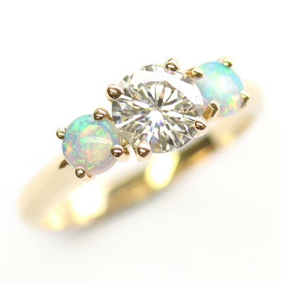 18ct Yellow Gold Moissanite and Opal Trilogy Engagement Ring 1.jpg