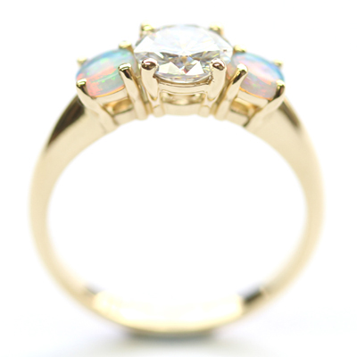 18ct Yellow Gold Moissanite and Opal Trilogy Engagement Ring 7.jpg