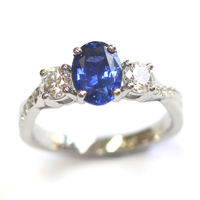 Platinum Blue Sapphire and Diamond Trilogy Engagement Ring 1.jpg