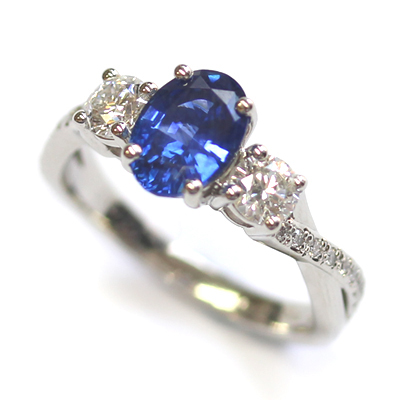 Platinum Blue Sapphire and Diamond Trilogy Engagement Ring 2.jpg