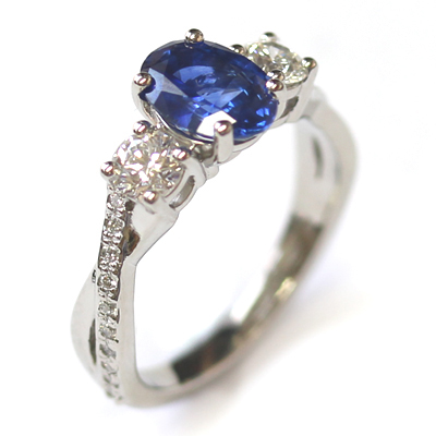 Platinum Blue Sapphire and Diamond Trilogy Engagement Ring 3.jpg