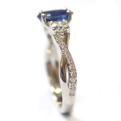 Platinum Blue Sapphire and Diamond Trilogy Engagement Ring 4.jpg