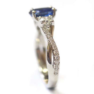 Platinum Blue Sapphire and Diamond Trilogy Engagement Ring 4.jpg