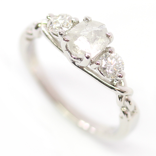 Platinum Uncut Diamond Trilogy Engagement Ring.jpg