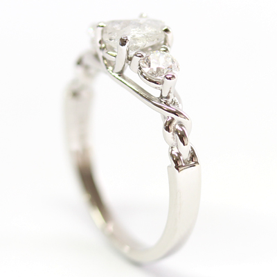 Platinum Uncut Diamond Trilogy Engagement Ring 4.jpg