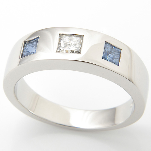 Platinum Princess Cut Sapphire & Diamond Triliogy Engagement Ring.jpg