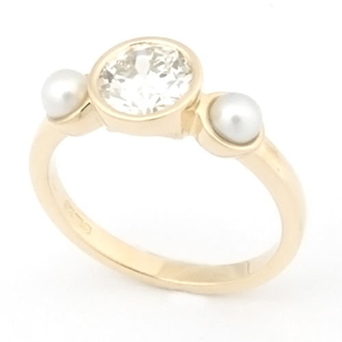 18ct Yellow Gold Diamond and Pearl Trilogy Engagement Ring.jpg