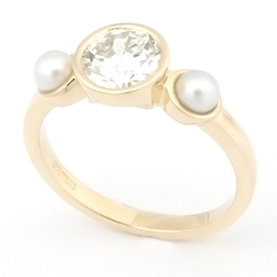 18ct Yellow Gold Diamond and Pearl Trilogy Engagement Ring 1.jpg