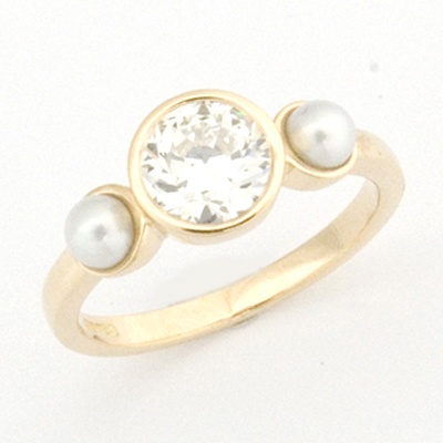 18ct Yellow Gold Diamond and Pearl Trilogy Engagement Ring 2.jpg