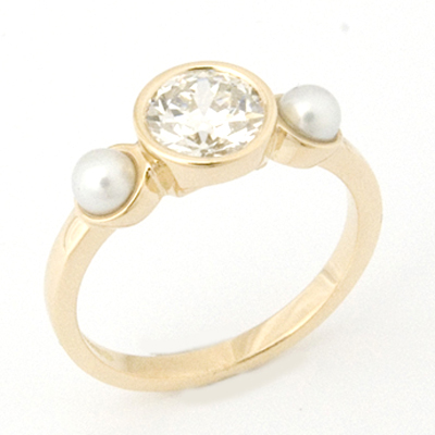18ct Yellow Gold Diamond and Pearl Trilogy Engagement Ring 3.jpg