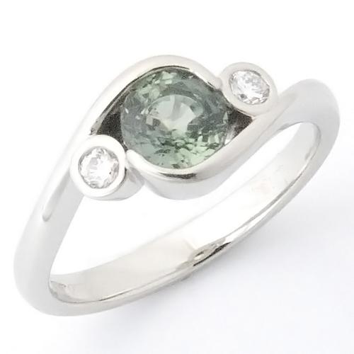 Platinum Green Sapphire and Diamond Engagement Ring.jpg