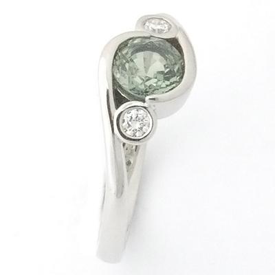 Platinum Green Sapphire and Diamond Engagement Ring 2.jpg