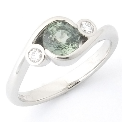 Platinum Green Sapphire and Diamond Engagement Ring 1.jpg