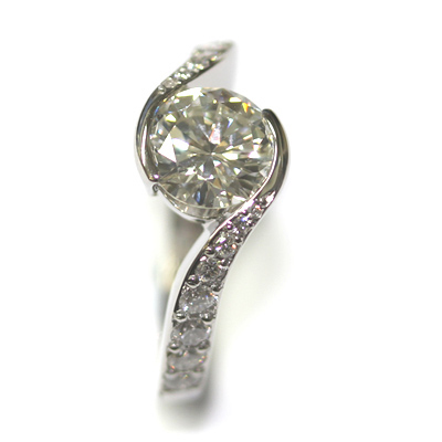 Platinum Twist Engagement Ring using the Customers Diamonds 5.jpg