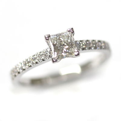 Platinum Princess Cut Diamond Engagement Ring with Part Diamond Set Shoulders 1 - Copy.jpg