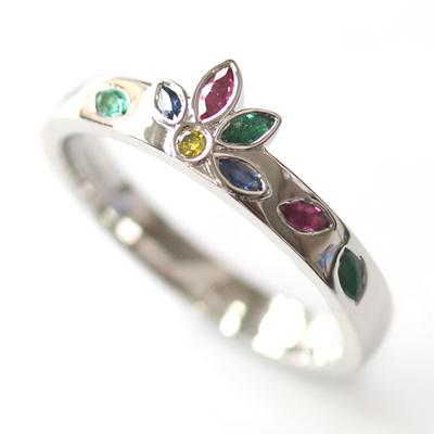 Platinum Emerald, Sapphire and Diamond Engagement Ring 2.jpg