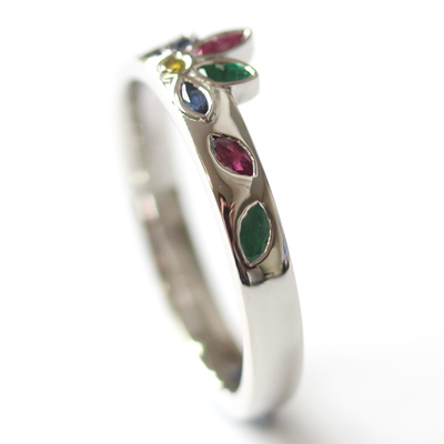 Platinum Emerald, Sapphire and Diamond Engagement Ring 3.jpg