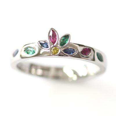 Platinum Emerald, Sapphire and Diamond Engagement Ring 4.jpg