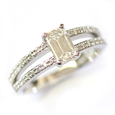 Emerald Cut Diamond Engagement Ring with Split Diamond Set Shoulders 2.jpg