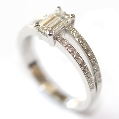 Emerald Cut Diamond Engagement Ring with Split Diamond Set Shoulders 4.jpg