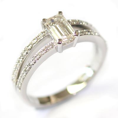 Emerald Cut Diamond Engagement Ring with Split Diamond Set Shoulders 6.jpg