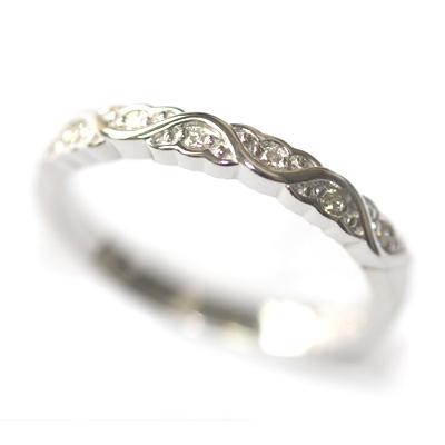 White Gold Diamond Set Wave Wedding Ring with a Scalloped Edge 2.jpg