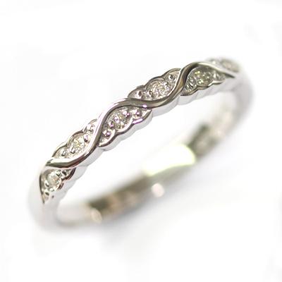 White Gold Diamond Set Wave Wedding Ring with a Scalloped Edge 1.jpg