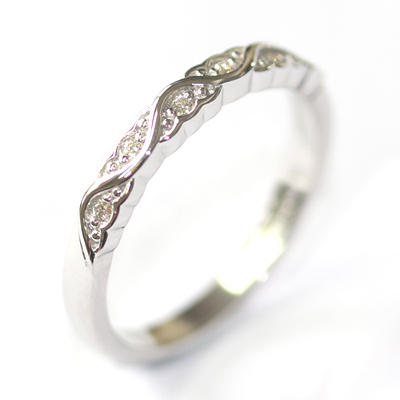 White Gold Diamond Set Wave Wedding Ring with a Scalloped Edge 4.jpg