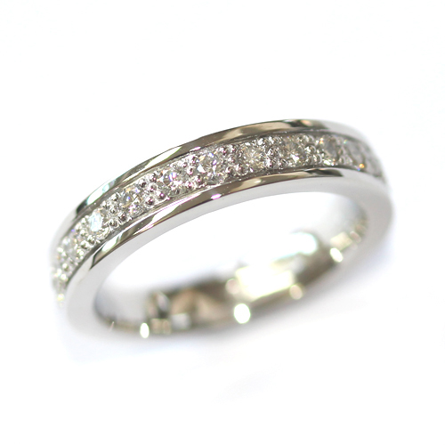 Platinum Grain Set Diamond Wedding Ring with a Border.jpg