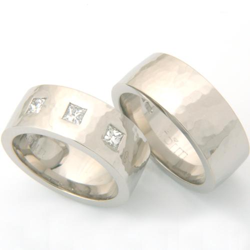 Palladium Hammered Effect Wedding Ring Set.jpg