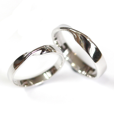 18ct White Gold Matching Twist Wedding Ring Pair 1.jpg