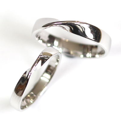 18ct White Gold Matching Twist Wedding Ring Pair 3.jpg
