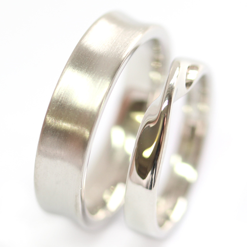 Platinum Satin Finish and Twist Wedding Ring Set.jpg