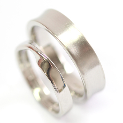 Platinum Satin Finish and Twist Wedding Ring Set 4.jpg