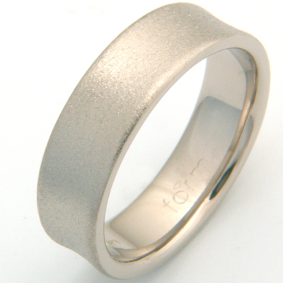 18ct White Gold Concave Satin Finish Wedding Ring 1.jpg