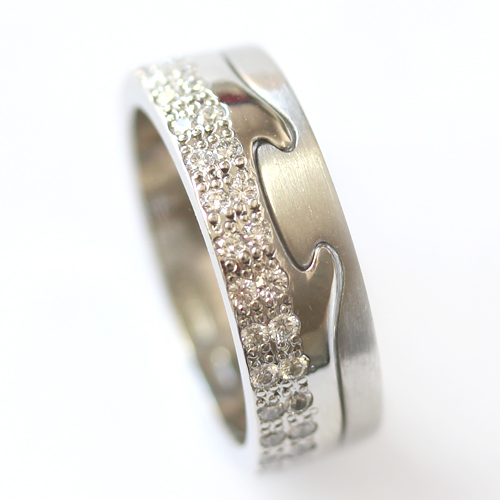 Platinum Jigsaw Diamond Set Engagement and Fitted Wedding Ring.jpg