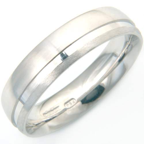 18ct White Gold Engraved and Textured Gents Wedding Ring 2.jpg
