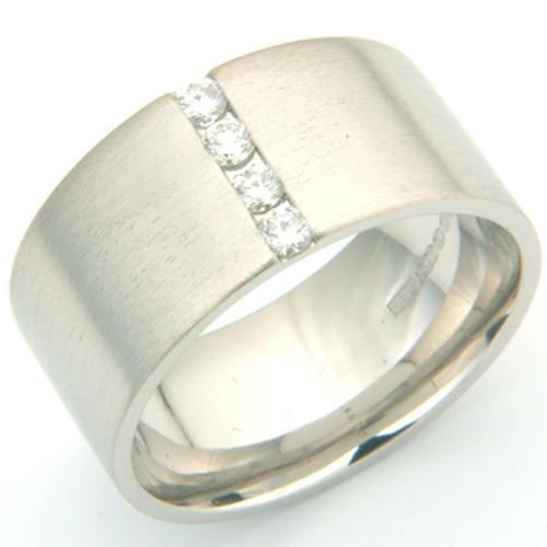 Palladium Gents Four Diamond Set Wedding Ring.jpg