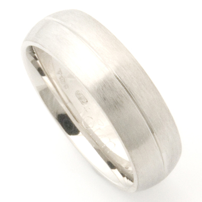 Platinum Wedding Ring with Diamond Cut Line and Brushed Finish 2.jpg
