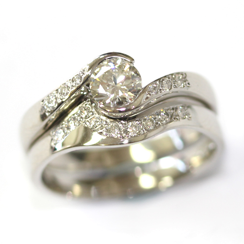 Platinum Diamond Set Fitted Wedding Ring for a Diamond Wave Engagement Ring.jpg