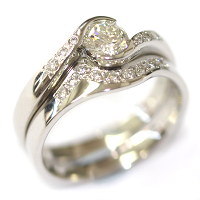 Platinum Diamond Set Fitted Wedding Ring for a Diamond Wave Engagement Ring 2.jpg