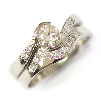 Platinum Diamond Set Fitted Wedding Ring for a Diamond Wave Engagement Ring 3.jpg