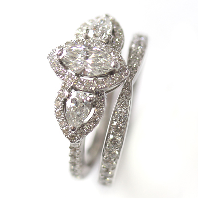 18ct White Gold Diamond Fitted Wedding Ring to Trilogy Halo Engagement Ring 2.jpg